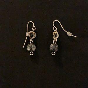 Jewelry - Glass bead earrings - black & silver
